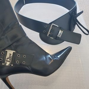 Christian Dior black leather bootie Vintage